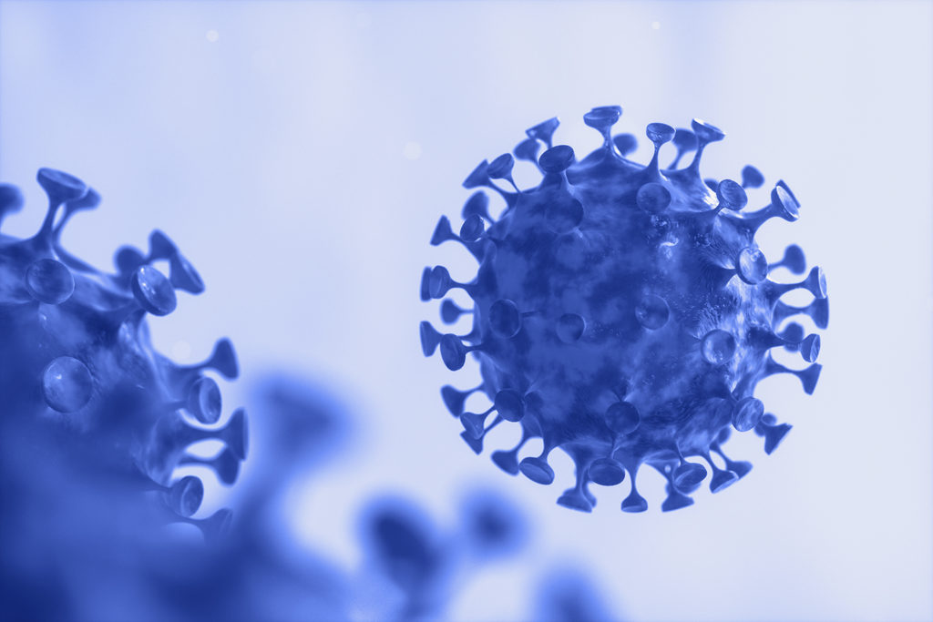dispersed-corona-viruses-with-blue-liquid-background-3d-renderi